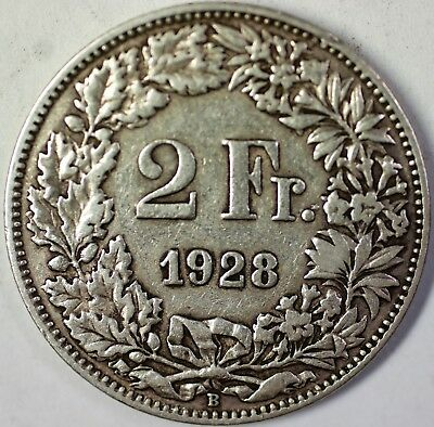 1928 B Switzerland 2 Francs Average Circulated Helvetia Silver Coin