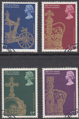 GB Stamps 1978, 25th Anv of Coronation, set of 4 Very Fine Used. SG 1059-1062