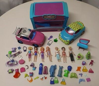 Polly Pocket Bundle dolls, clothes, cars, carwash and accessories.