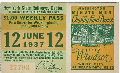 1937 Trolley Streetcar Pass Dance The Windsor White City Irondequoit RochesterNY