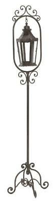 Antique Style Wrought Iron metal Floor Standing Candle Lantern Lamp bronze
