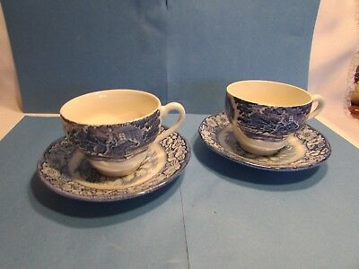 Set Of TWO (2) Staffordshire Liberty Blue China Full Size Cups And Saucers Two