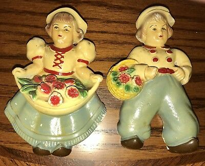 """Vintage Chalkware Dutch Girl and Boy With Flower Baskets -  Approx 5 3/8"""" Tall"""