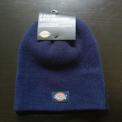 9dfae293 NEW NWT Dickies 2 Pack Knit Beanie Hat Set Men's Work Gear NAVY BLUE AND  BLACK