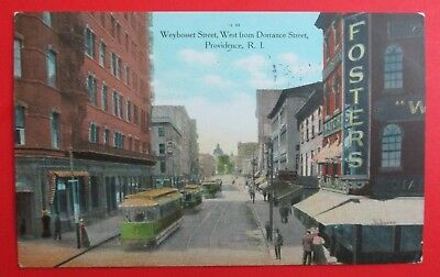 Weybosset Street Showing Trolley Providence RI Posted DB Postcard