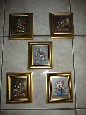 Vtg Italian Tole Floral Wall Pictures~Hollywood Regency~Italy~SET OF 5