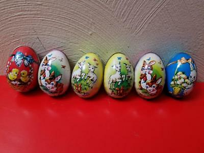 7 Vintage Murray Allen Tin Metal Empty Easter Candy Egg Containers Lot