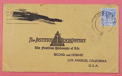 DR WHO 1940s SINGAPORE SINGLE FRANKED  WWII CENSORED TO USA A6176