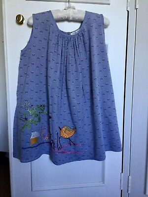 Megan Park Girls Dress. Blue with hand stitched pattern. Size 6