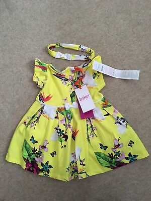 07d9864af894f Ted Baker Baby Girl Dress Headband Floral Yellow Designer 3-6 Month BNWT  RRP £