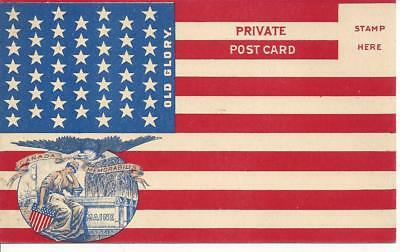 antique 46-star U.S. flag private postcard - Lady Liberty mourns the MAINE -MINT
