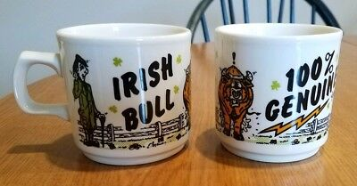 2 Vintage Irish Bull Coffee Mug Cup 100% Genuine Carringdhoun Ireland Pair Lot