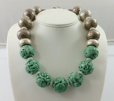Vintage Chinese Siberian Jade Endless Knot & Hill Tribe Silver Bead Necklace