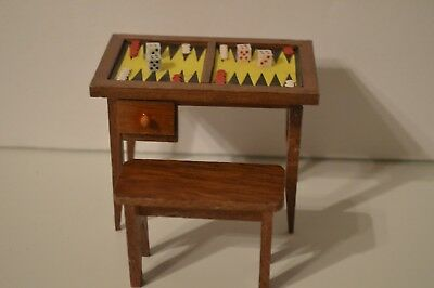 Vintage Dollhouse Miniature Mid Century game table furniture accessory