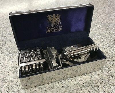 Vintage Wilkinson Sword 7 DAY SAFETY RAZOR in Metal Case with Strap Made in Engl
