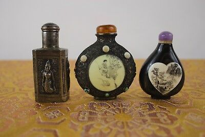 Group Of 3 Asian Chinese Pieces Snuff Bottles