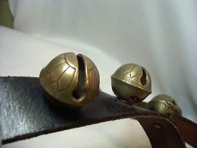 """Antique 21 Brass Tulip Sleigh Bells On Leather Belt Decorated Bells 50"""" Long"""