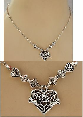 Claddagh Necklace Celtic Heart Pendant Handmade Adjustable NEW Silver Chain