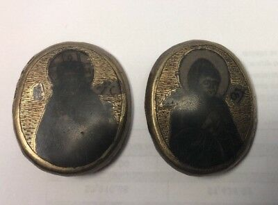 2 Antique Russian 84 Silver Religious Icon Buttons Plaques Medals 1821 Niello
