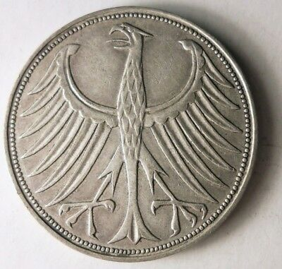 1951 D GERMANY 5 MARKS - High Quality High Value Silver Coin - SCARCE - Lot #D12
