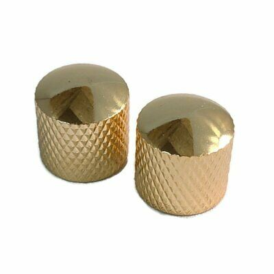 Metric Metal Dome Control Knobs for Tele Electric Guitar or Bass, Gold 2 Pack