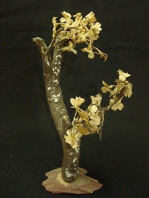 Antique Japanese wood & silk flowers tree decoration 1900's
