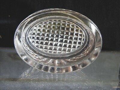 Vintage Oval Master Open Salt Cellar Pressed Glass Nut Dish Hobnail Diamond Base