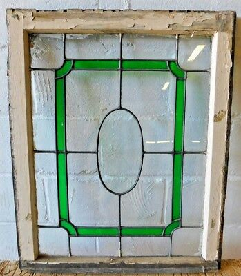1800's Leaded STAINED GLASS Window Oval BEVELED Star Glass Wood Frame ORNATE