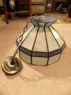"""Stained Glass Hanging Light Chandelier Ceiling Fixture Tiffany Style 15"""" VINTAGE"""