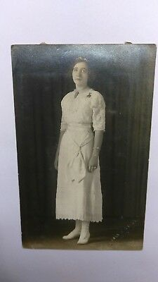 Vintage Rppc Real Photo Postcard Woman In White Dress Frank Gress Brookfield Mo