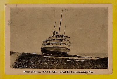 1925 Cape Elizabeth, Maine photo type postcard Wreck of Steamship 'Bay State'