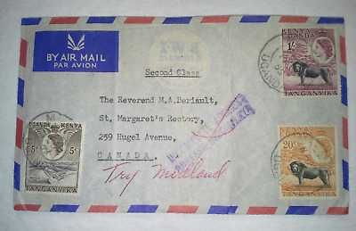 BRITISH KUT 1955 Airmail Cover to Canada w/Incomplete Address & 1Sh Lion (G)