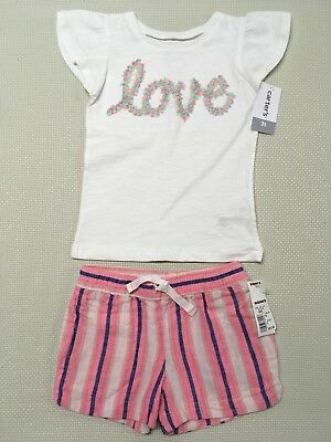 New NWT Carter's Girls Size 3T White Love Shirt & Carter's Pink and Blue Shorts