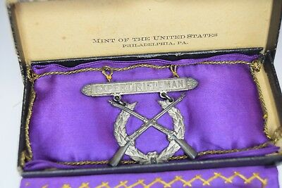 US Army Pre WWI 1909 Dated Expert Rifleman Badge * U.S. Mint * Two Piece Riveted