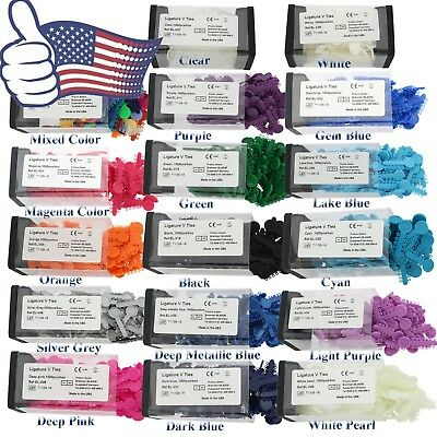 US Dental Orthodontic Elastic Ligature V Ties Rubber Bands 17 Colors 1000pcs/box