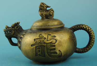 chinese old copper Hand carving dragon teapot /daqing mark