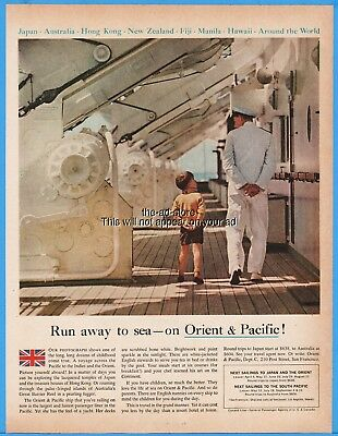 1960 Cunard Cruise Ship Orient & Pacific Captain Walking Deck Boy Ad Advertising