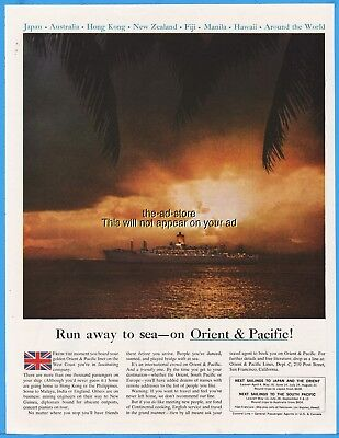 1960 Cunard Cruise Ship Orient & Pacific Run away to sea Photo Ad Advertising