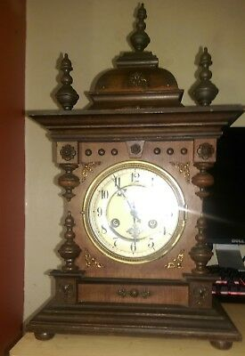 Antique Junghans Mantel Bracket Table Clock 1919 pendulum 8 ( working )