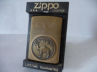 1932-1992 solid brass Zippo lighter with Camel medallion in display case box