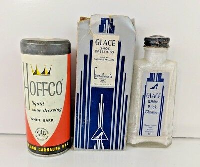 Glace White Buck Cleaner Box & Bottle and Hoffco Liquid Shoe Dressing Tin