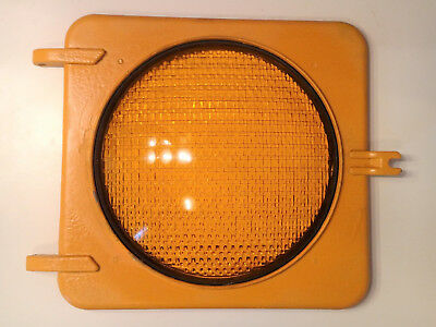 """Vintage Yellow Cover With 8 3/8"""" KOPP GLASS EAGLE SIGNAL CORP STOP GO Amber Lens"""