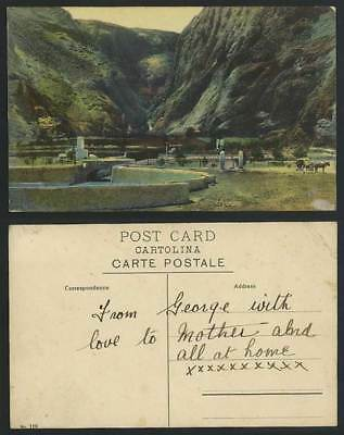 India Old Colour Postcard Camp, The Tanks, Bridge, Mountains & Horse Drawn Cart