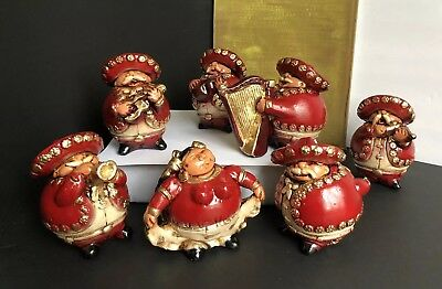 Vintage Ceramic Mexican Mariachi Band Figurines Lot Of 7 Free shipping!