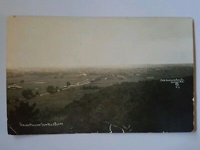 Rppc Mauston Wisconsin Birds Eye View From Mile Bluffs Real Photo Vintage Pc