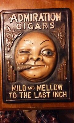 Early Original Admiration Cigars Chaulkware Plaque Embossed Advertising Sign