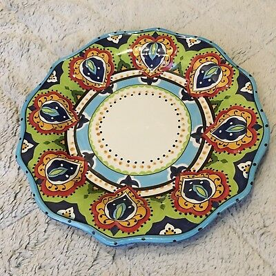 """ESPANA LIFESTYLE in Pattern BOCCA Handcrafted Scalloped Dinner Plate 11"""""""
