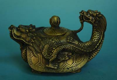 Chinese old fengshui copper hand-carved dragon statue teapot /kangxi mark