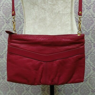 76e62b95eb Vintage 80s Leather Purse Handbag Small Shoulder Bag Fuschia Pink Made In  Brazil