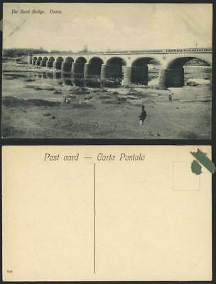 India British Indian Old Postcard The Bund Bridge POONA Maharashtra, River Scene
